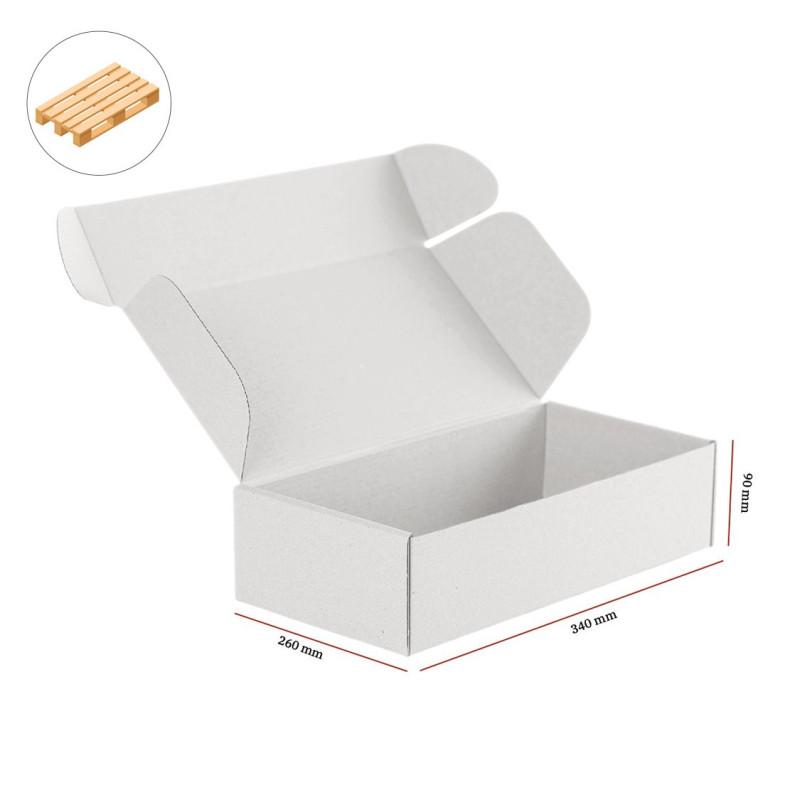 Karton fasonowy biały 340x260x90 mm 1060 szt - paleta
